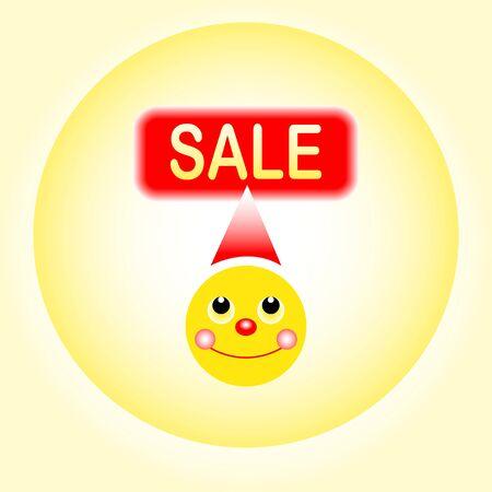 haste: sale smiley on yellow background vektor illustration Stock Photo