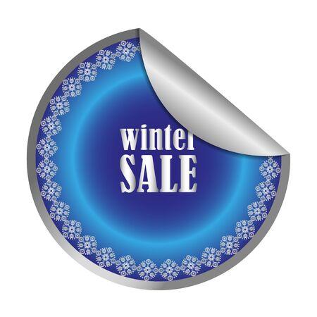 white winter: winter sale round red sticker isolated on white