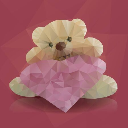 bellow: Bright colored polygonal teddy bear with heart