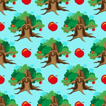 patchwork landscape: Cute seamless childish patchwork pattern. Adventure of apple tree. Can be used for kitchen textile or bed linen fabric, interior wallpaper design. Fairy illustration. Stock Photo