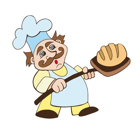 stirring: baker with bread baked with cap vektor illustration Stock Photo