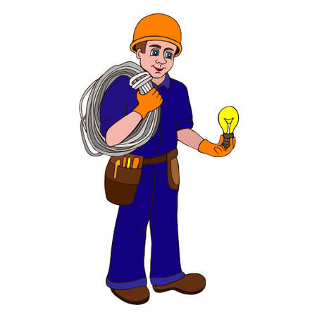 work worker: Electric light bulb held in the hand