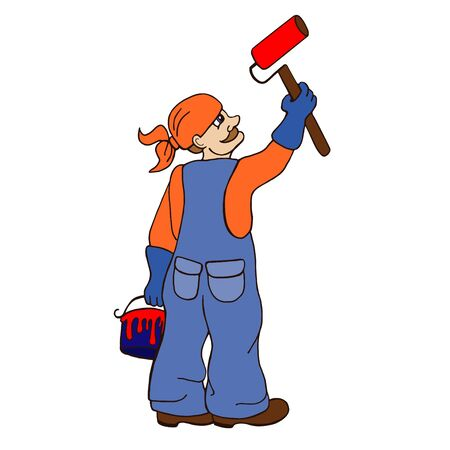 blue collar: Cartoon painter holding a paintbrush. illustration with simple gradients. All in a single layer.