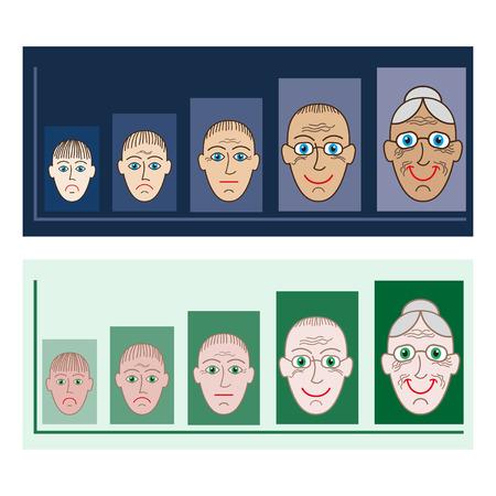 gran: Presentation for different age groups vektor set Illustration