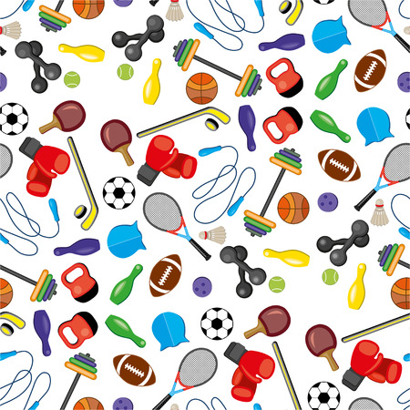 swim cap: Seamless sport equipment pattern background. Active lifestyle illustration.