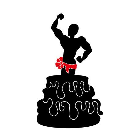 ilustración de una stripper saliendo de un pastel de enorme.