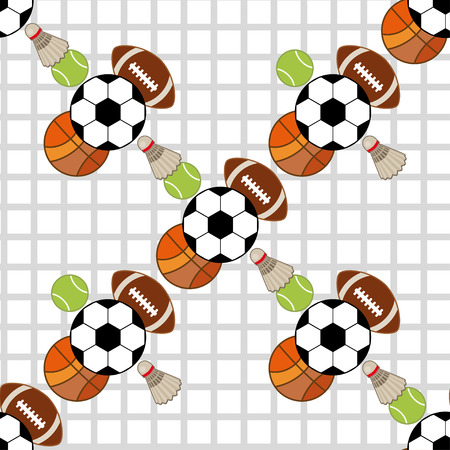 active lifestyle: Seamless sport equipment pattern background. Active lifestyle illustration.