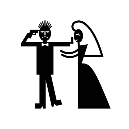 stag party: Wedding couple pictogram bride whips groom icons Stock Photo