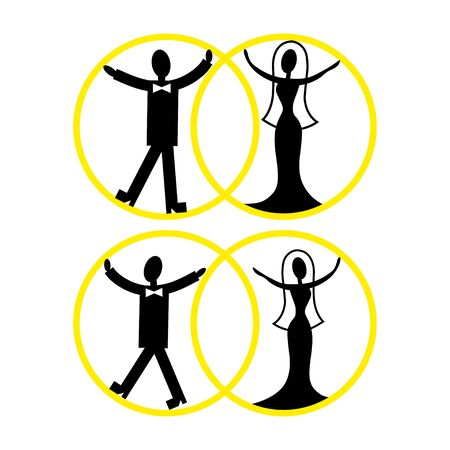 separation: Two icons of romantic relationships.Stick figures, symbols for relationship, love and separation Stock Photo