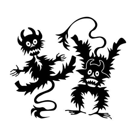 diabolic: cartoon little devil or Imp - halloween illustration template