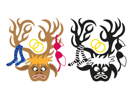 stag party: image of man with deers head and lingerie items on horns