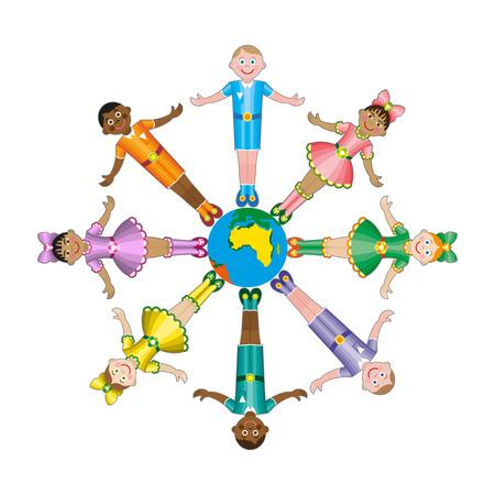 cultural diversity: multicultural children on planet earth, cultural diversity, traditional folk costumes Illustration