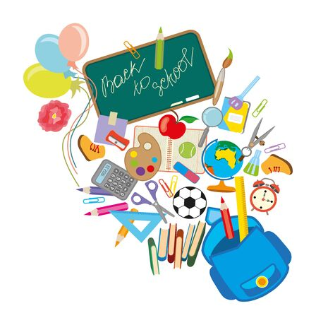 Back to school background with school supplies set, illustration.