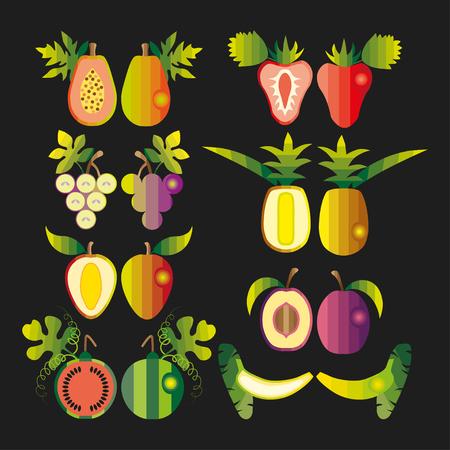 exotic fruits: Colourful set of tropical exotic fruits. Vector Illustration Illustration