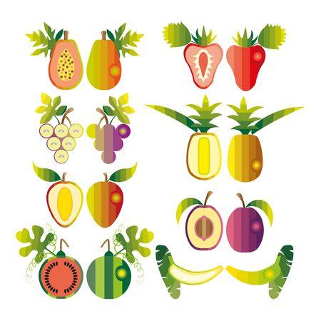 exotic fruits: Colourful set of tropical exotic fruits. Illustration