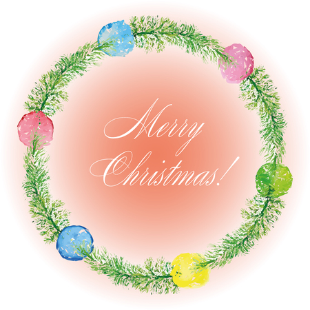findings: Christmas card. Watercolor painting. Hand lettering. Wreath for Christmas Illustration