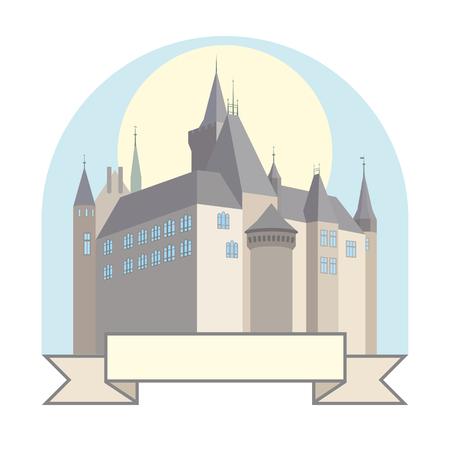 Un piccolo castello tedesco sullo sfondo colorato.