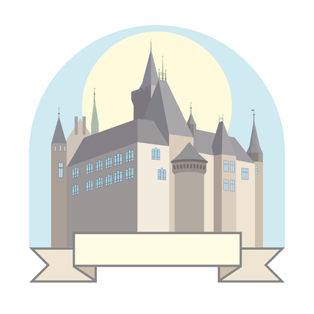 A small German castle on the colored background. Illustration