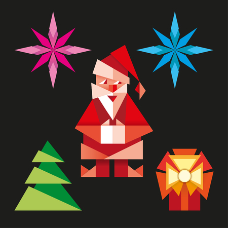 Realistic origami. Christmas set - Santa christmas tree snowflake.