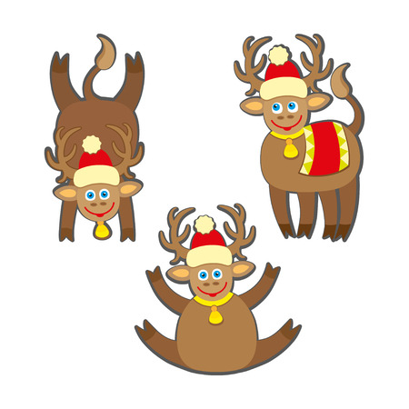 rein: Set of funny rein deers with christmas lights tangled in antlers - Cartoons with different emotions for New Year or Christmas Design.
