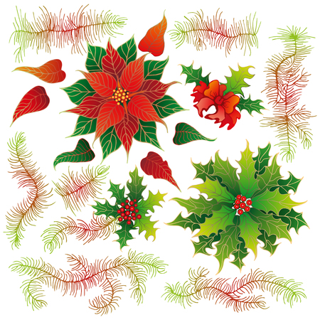 dcor: Elements of Christmas decoration. Vector design set. Illustration