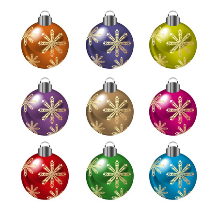 Set of decorative christmas balls, isolated on white. Illustration