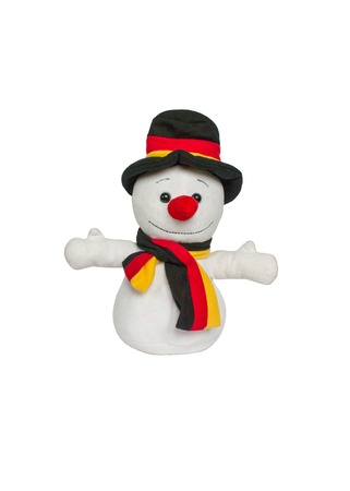 Christmas decoration, plush snowman isolated on white background