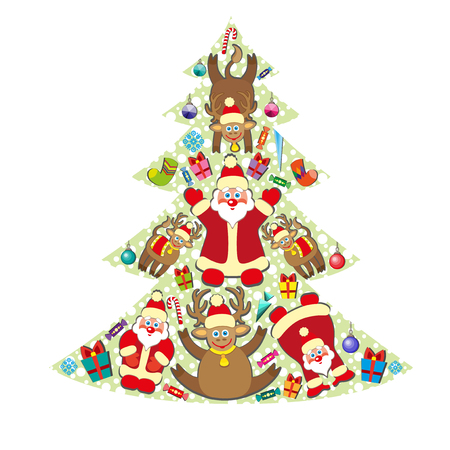 Christmas tree with gifts. Christmas card with santa and reindeer.