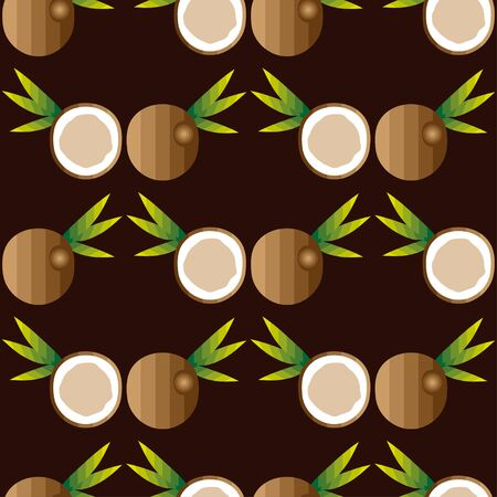 dulcet: Seamless background with coconut and leaves, vector illustration Illustration