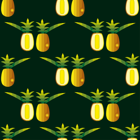 Seamless pattern with image of a Pineapple fruit in color. Vector illustration.
