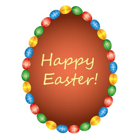 Ostern: Vector Easter tag. Egg banner with ribbon and bow. Festive background. Decorative illustration for print, web