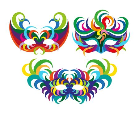 A set of carnival masks. flat illustration isolate on a white background Stock Photo