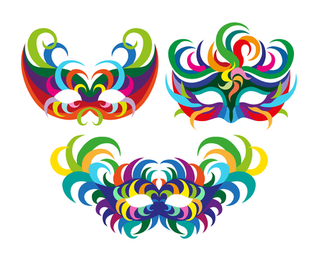 paper mache: A set of carnival masks. flat vector illustration isolate on a white background