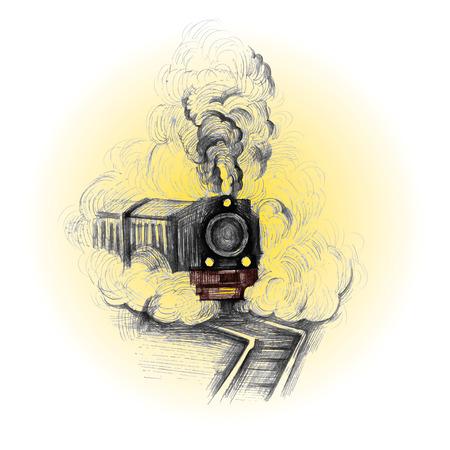 puffing: retro train, vintage vector symbol, emblem, label template Illustration