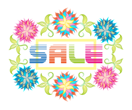 Sale background with beautiful colorful flower. Wallpaper, flyers, invitation, posters, brochure voucher discount Illustration