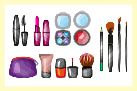 Seth cosmetics, manicure, beauty, perfumes icons Clean Professional Makeup Stock Photo