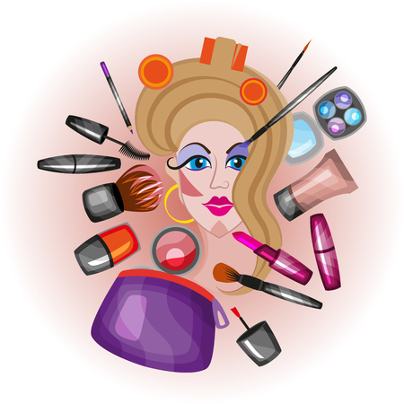 curler: Young beautiful woman European type with curlers on her head and mask on her face. Relaxing girl face with cosmetics and make up.