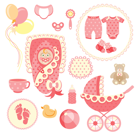 Newborn baby girl clip art with cute icons. Vector collection Illustration