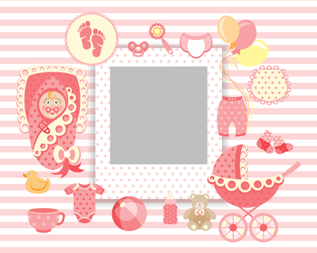 Baby Girl Greeting Card With Photo Frame Royalty Free Cliparts
