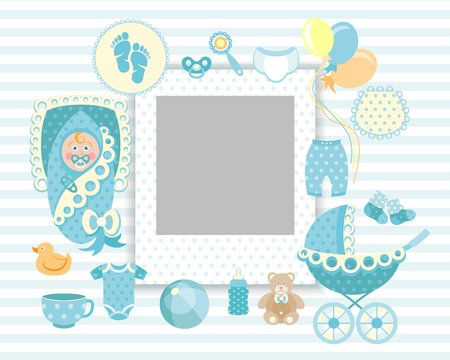 Baby boy shower card. Arrival card with place for your photo.