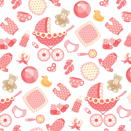 baby girl pattern on pink