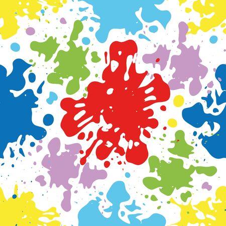 Kleurrijke inkt splattert en druppelt naadloos patroon, artistieke achtergrond.