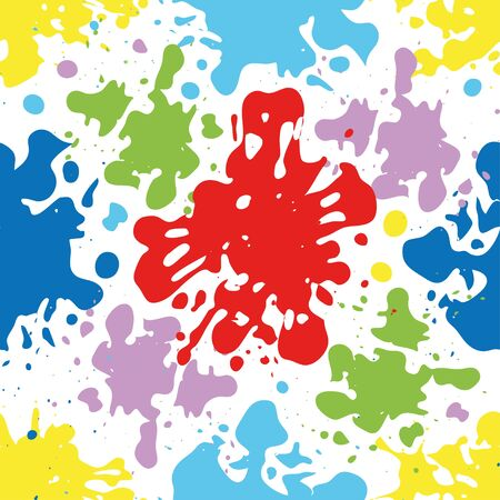 multiply: Colorful ink splatters and drops seamless pattern, artistic vector background. Illustration