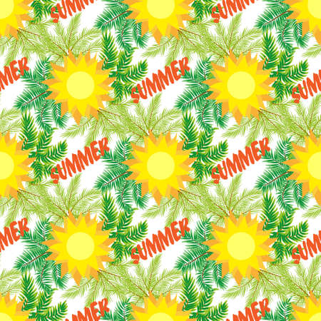 continue: Palm trees and sun background. seamless pattern