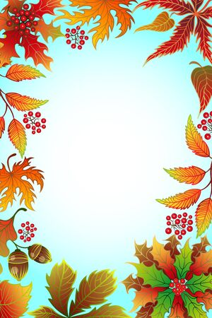 leafed: Autumn background with maple leaves and frame for photo with place for your design.