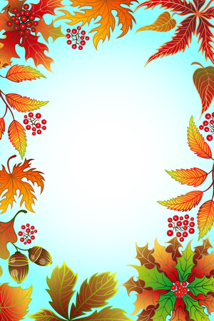Autumn background with maple leaves and frame for photo with place for your design.
