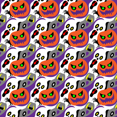 Halloween symbol design element decoration into seamless pattern for wallpaper.