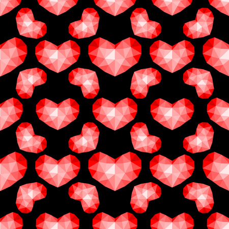 Vector seamless pattern. Abstrakt repeating texture with chaotic hearts. Stylish hipster texture. Illustration