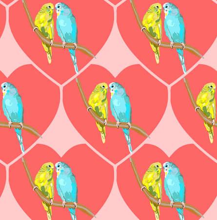 Pair of lovebirds agapornis-fischeri Stock Photo