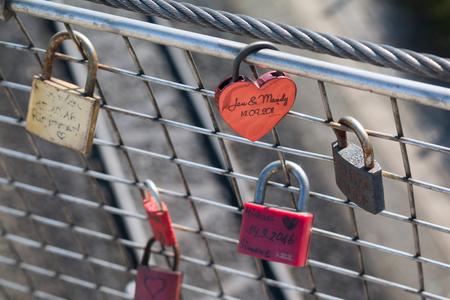 grungy love padlocks with heart decoration